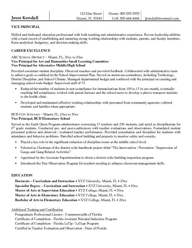 Resume Education Example Entrylevel Assistant Principal Resume Templates  Free Vice