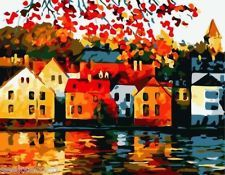 Acrylic Paint by Number Kit 50x40cm (20x16) Lakeside Town JC7086