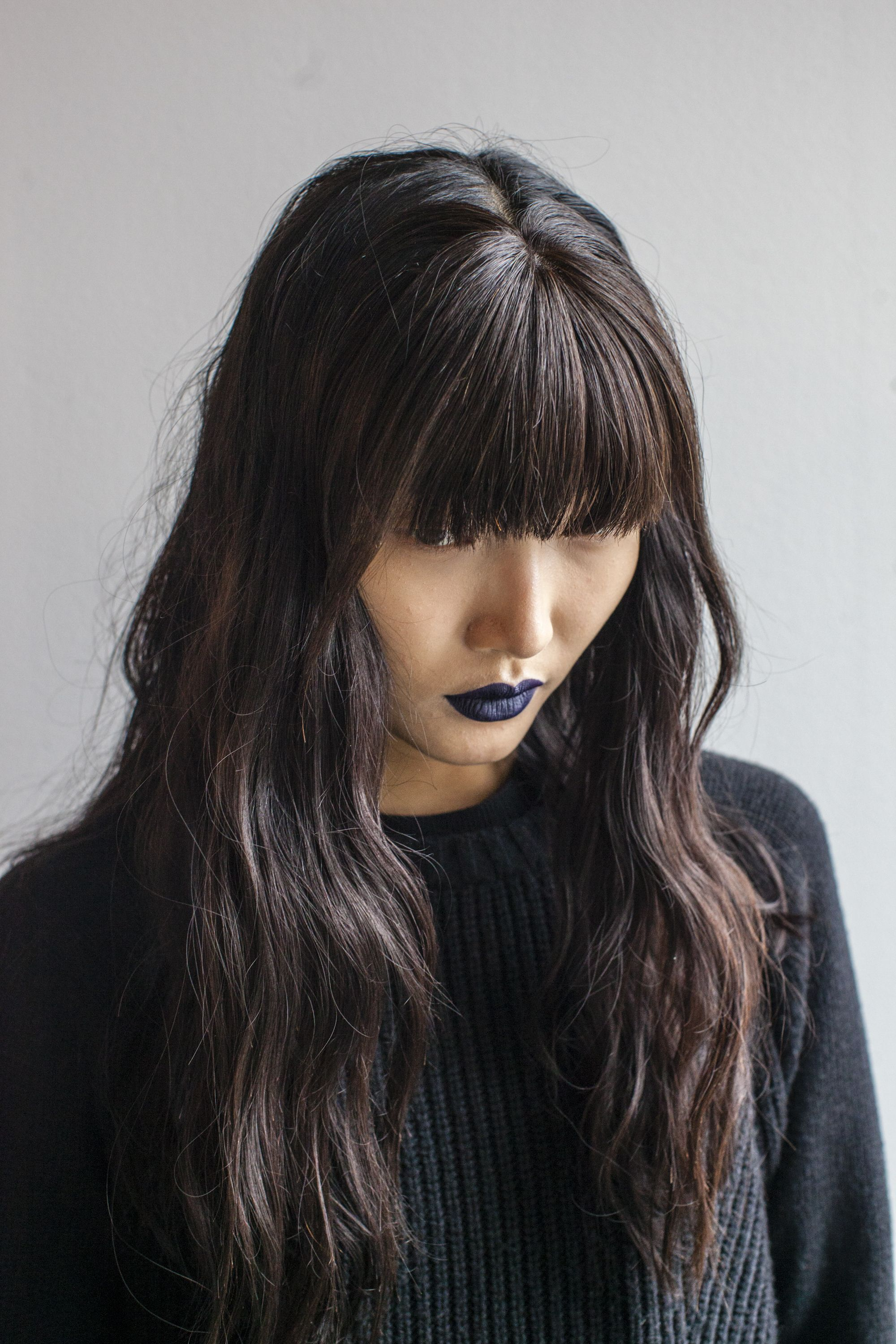 Blunt Bangs And A Bold Lip Hair Inspiration Hair Styles Long Hair Styles