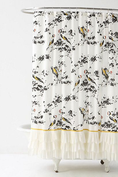 Love This Shower Curtain Birds Ruffles Golden Yellow With