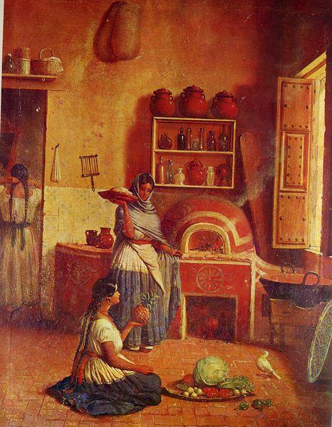 Cuadros de pintura cocinera antigua buscar con google - Pinturas para cocina ...