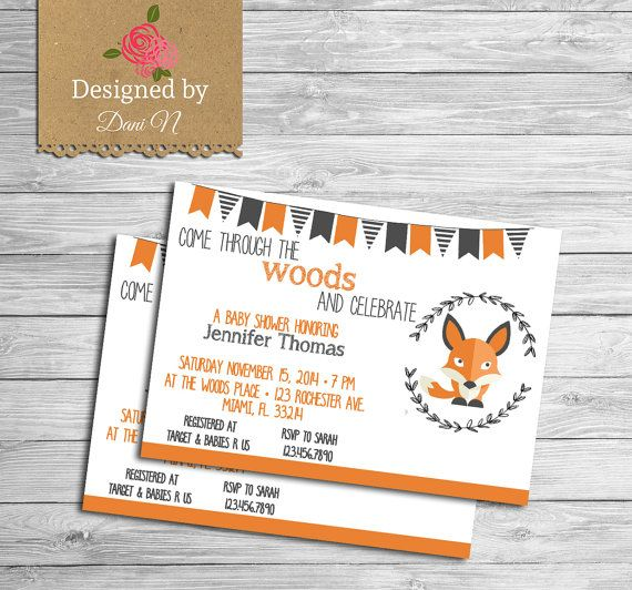 fox baby shower Invitation, Girl, Boy woodland shower invite, Fox, vintage, orange, gray, fox baby shower, party #etsy  #gifts