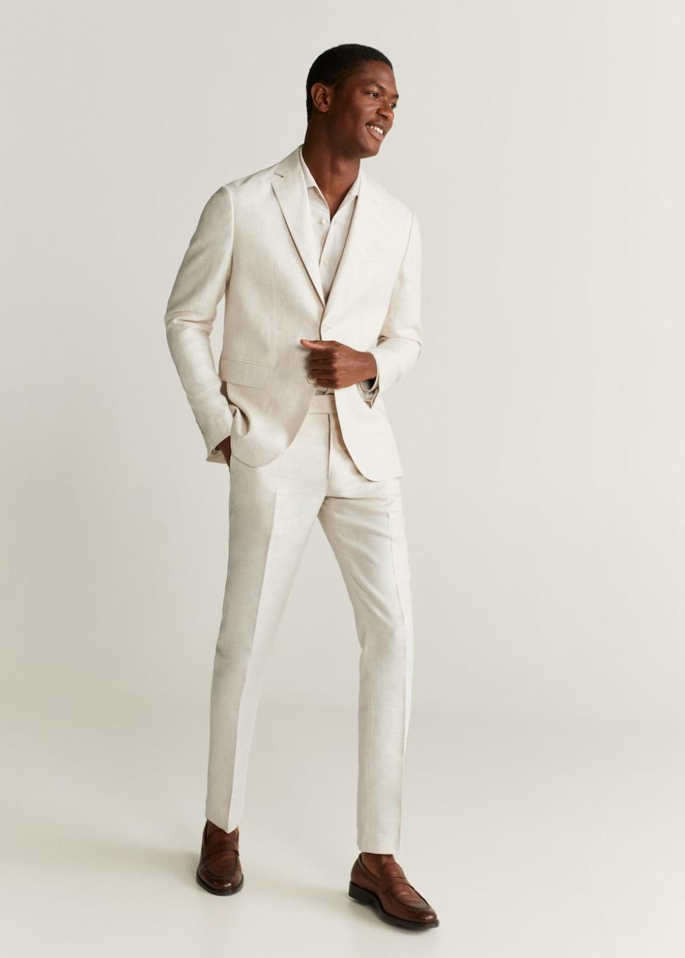 Slim Fit Linen Suit Trousers Man Mango Man India In 2021 Mens White Linen Suit Linen Suit Linen Suits For Men [ 1398 x 1000 Pixel ]