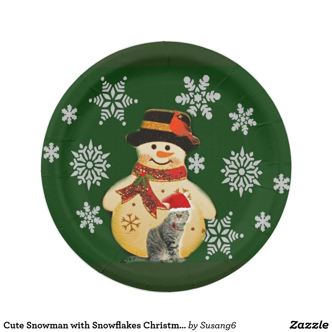 Cute Snowman with Snowflakes Christmas Paper Plate | Paper Plates ...
