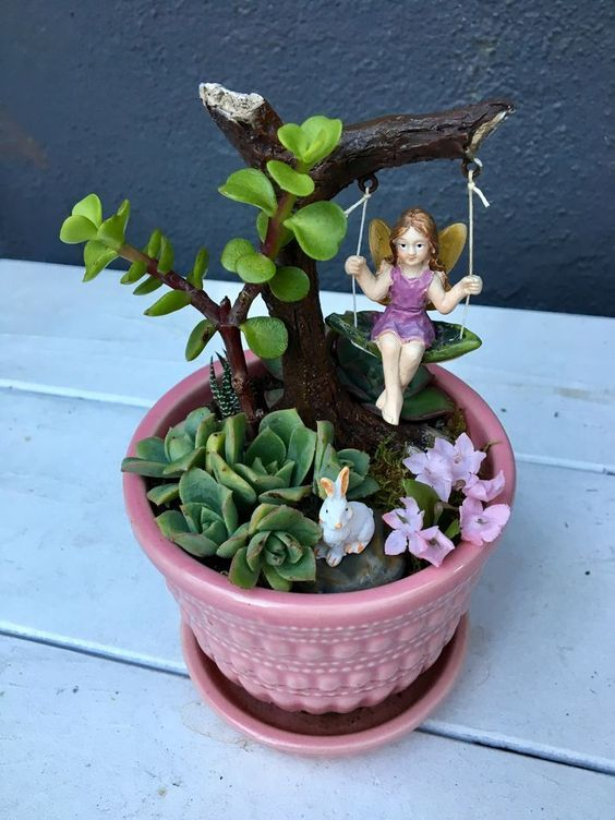 62 DIY Miniature Fairy Garden Ideas to Bring Magic Into Your Home  Page 18 of 62 - Fairy garden plants, Fairy garden diy, Mini fairy garden, Fairy garden designs, Indoor fairy gardens, Miniature fairy gardens - People usually seek for Fairy Garden Ideas to make it look mesmerizing  One can create a fairy garden by identifying the items to be used and just has to dig deep into the mind to come up with an idea  The simpler the idea is, the easier it is to create  The whole mix of Fairy garden ideas depends upon the imagination of a person  It is possible to also propagate your very own succulent pups from cuttings  It is very important to contemplate where you want to place your fairy garden  At times the ideal fairy gardens are nestled into landscaping you presently have