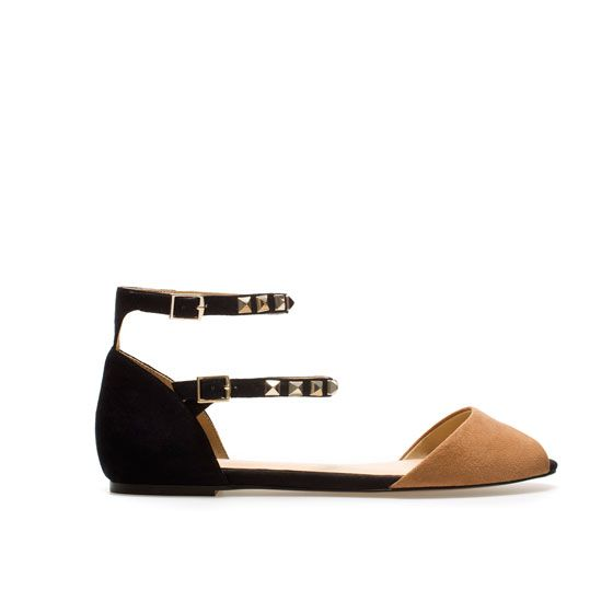 FLAT SANDALS WITH STUDDED ANKLE STRAP - Flats - Shoes - Woman | ZARA United States