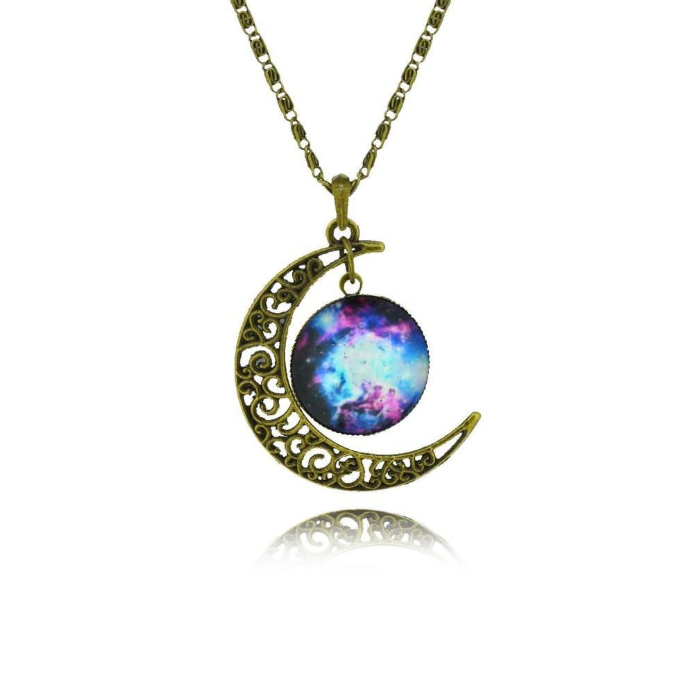 Galaxy Cabochon Alloy Hollow Moon Pendant Necklace
