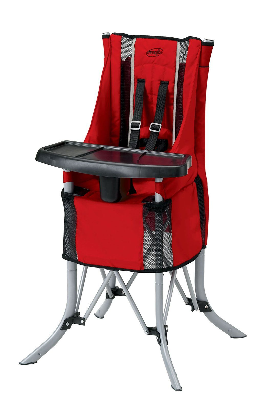 baby camping high chair kitchen chairs for heavy people evenflo babygo travel red best price