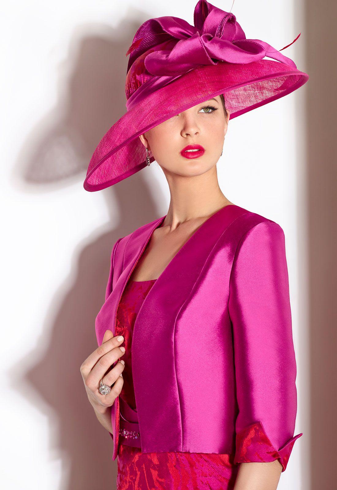DONNA 06457 Vestido de madrina corto en jacquard y shantung con ...