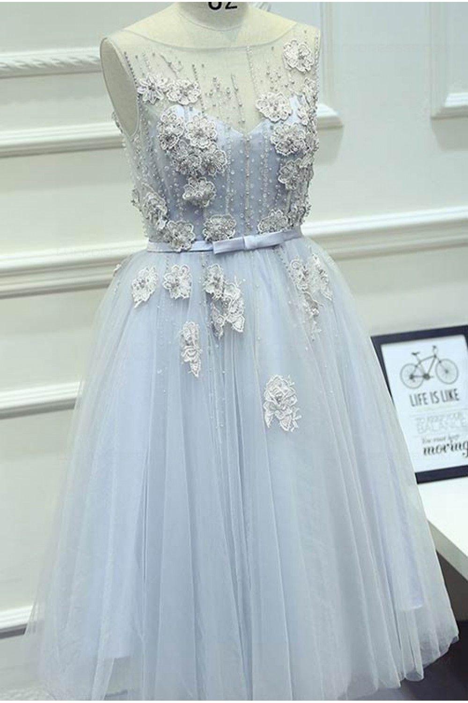 Illusion Neckline Unique Beaded Lace Tulle Prom Dresses Party ...