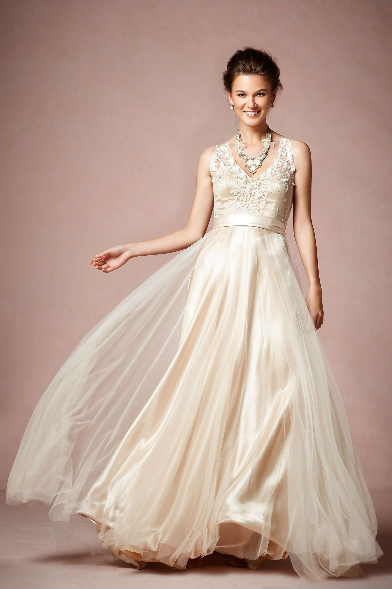 Wedding dresses for broad shoulders  Onyx Gown in Bride Wedding Dresses at BHLDN I think I like this
