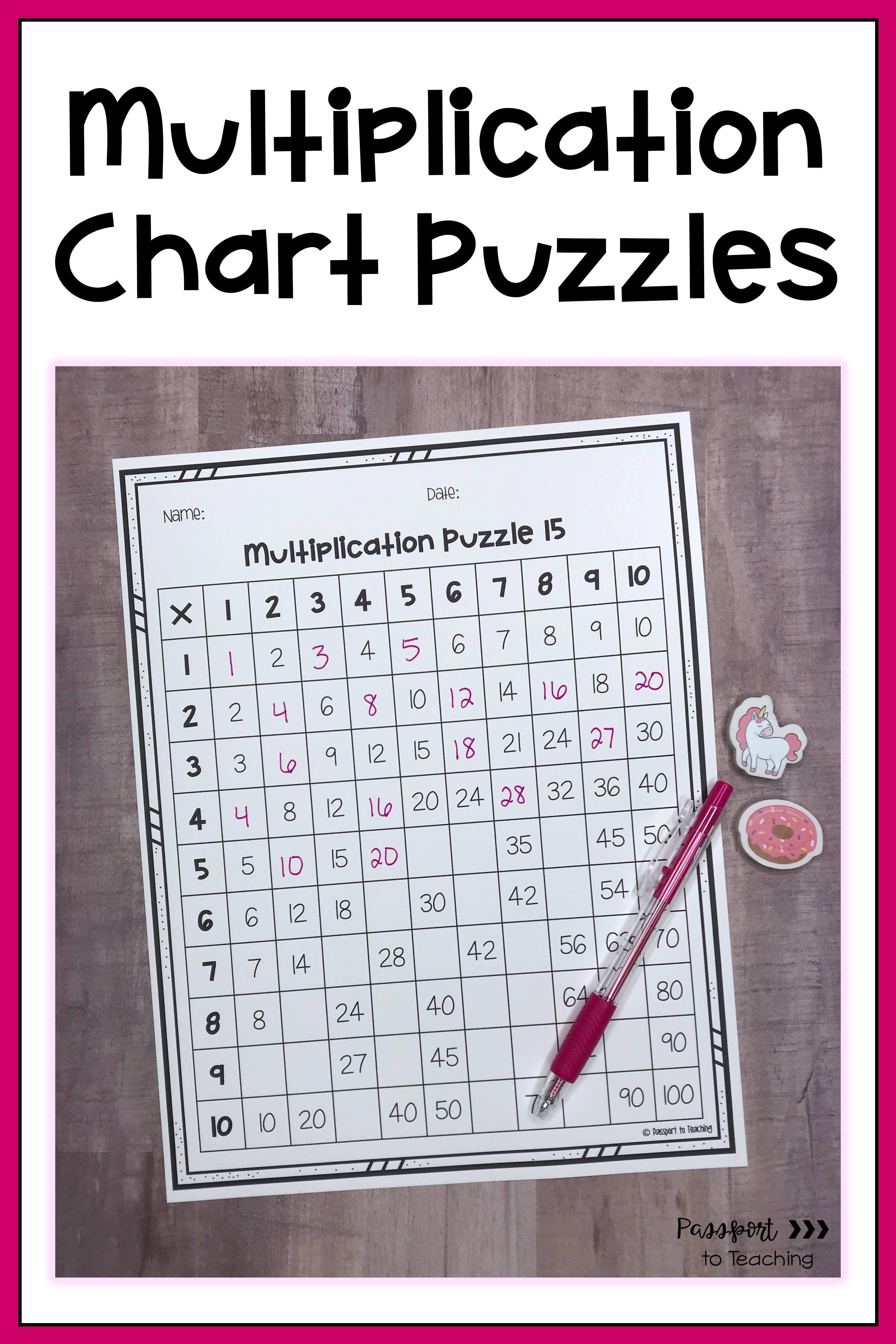 Multiplication Chart Puzzles