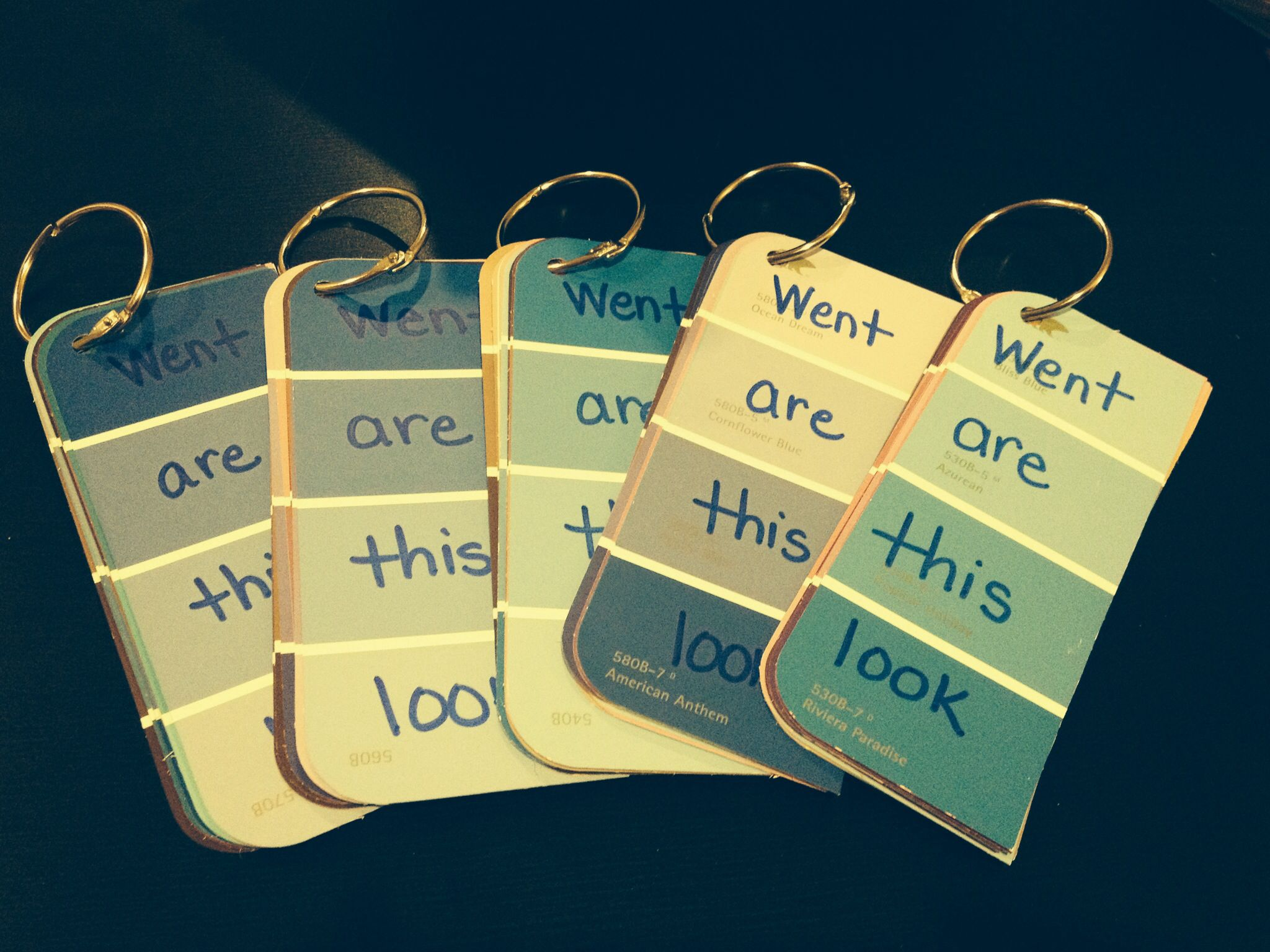 Kindergarten Sight Words On Paint Sample Cards  My Creations