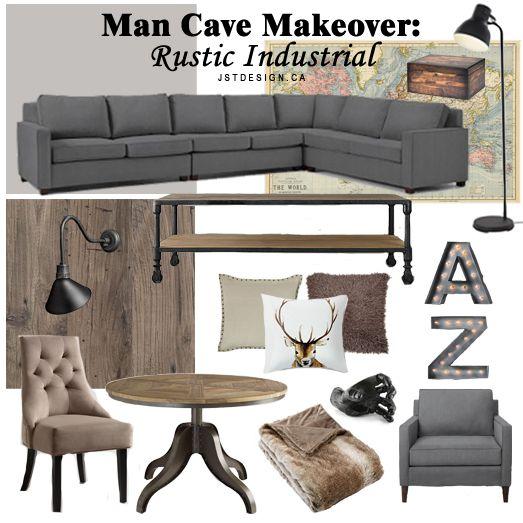 Rustic Industral Bathchlor Interior Design: Man Cave Makeover: Rustic Industrial - JST Design