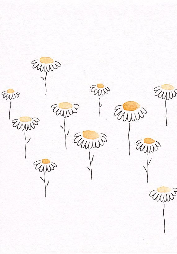 Simple Floral Sketch Yellow Flowers Drawing Original Watercolor