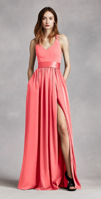 a104b58ede7 Vera wang a-line bridesmaid dress in coral reef.