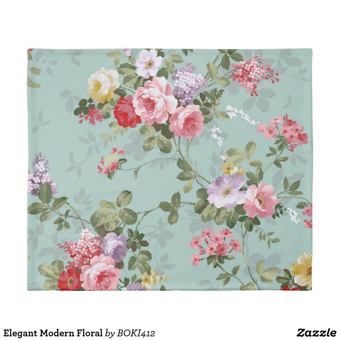 Elegant Modern Floral Duvet Cover Zazzle Com Iphone Wallpaper