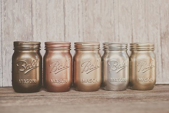 5 Painted mason jars. Bronze, rose gold, and copper, silver, yellow gold.  padstyle