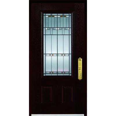 Stanley doors fibermax 1500e l fiberglass pre finished dark oak door and frame 36 in x 80 in for Fiberglass exterior doors canada