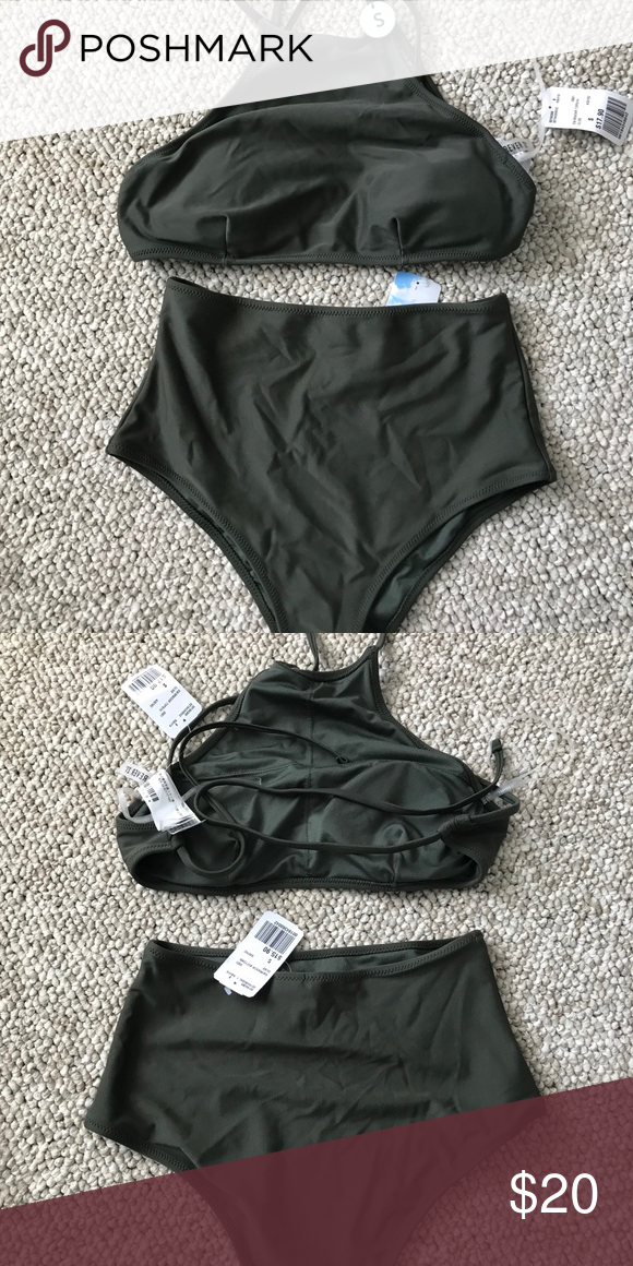 4eb4032936 Forever 21 Bathing Suit Brand new tags on, army green high neck and high  waist swim suit Forever 21 Swim Bikinis