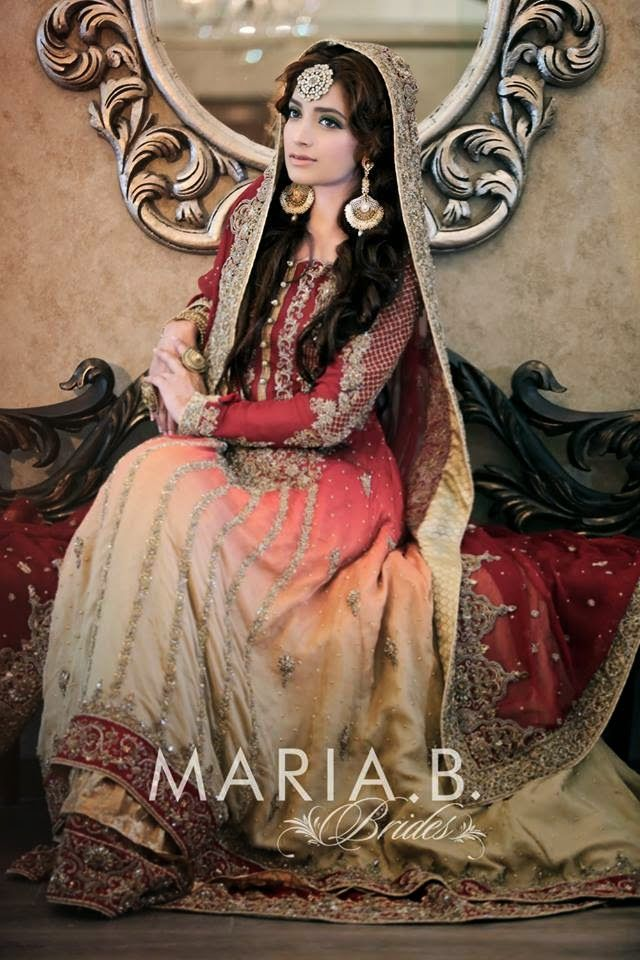 Mehndi Dresses By Maria B : New designs of wedding dresses for young brides by maria b
