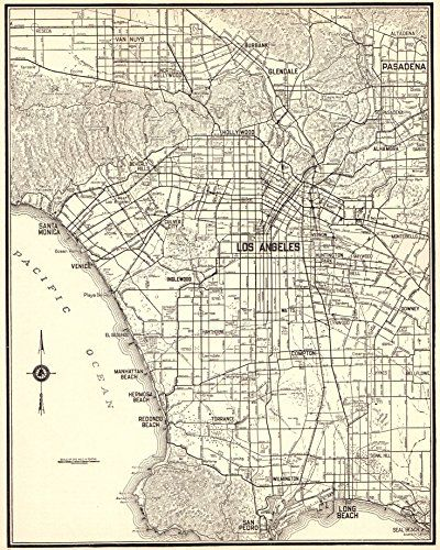1940 Antique Los Angeles Map Original Vintage Map Of Los Https Www Amazon Com Dp B01llt9g6m Ref Cm Sw R Pi Dp Los Angeles Map California Map Map Wall Art