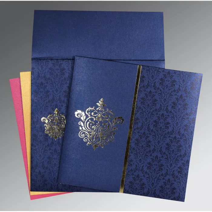 Blue Shimmery Damask Themed Foil Stamped Wedding Card W 1503 123weddingcards In 2020 Hindu Wedding Cards Indian Wedding Invitations Wedding Cards