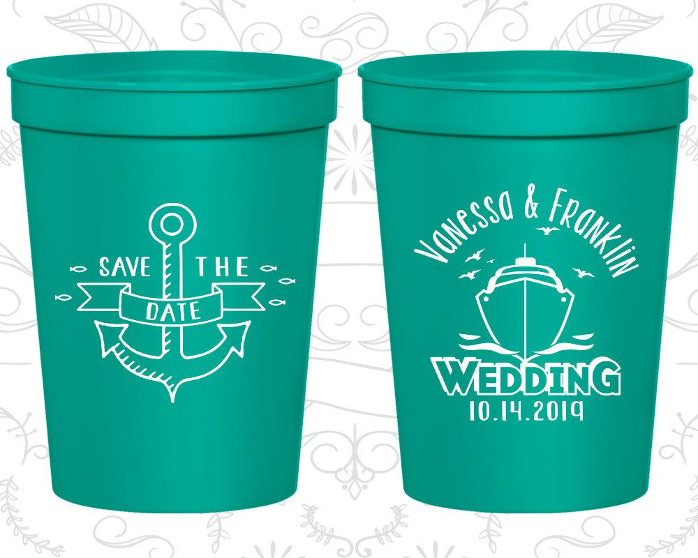 Save The Date Wedding Cups Wedding Favor Drink Cups Anchor Cups
