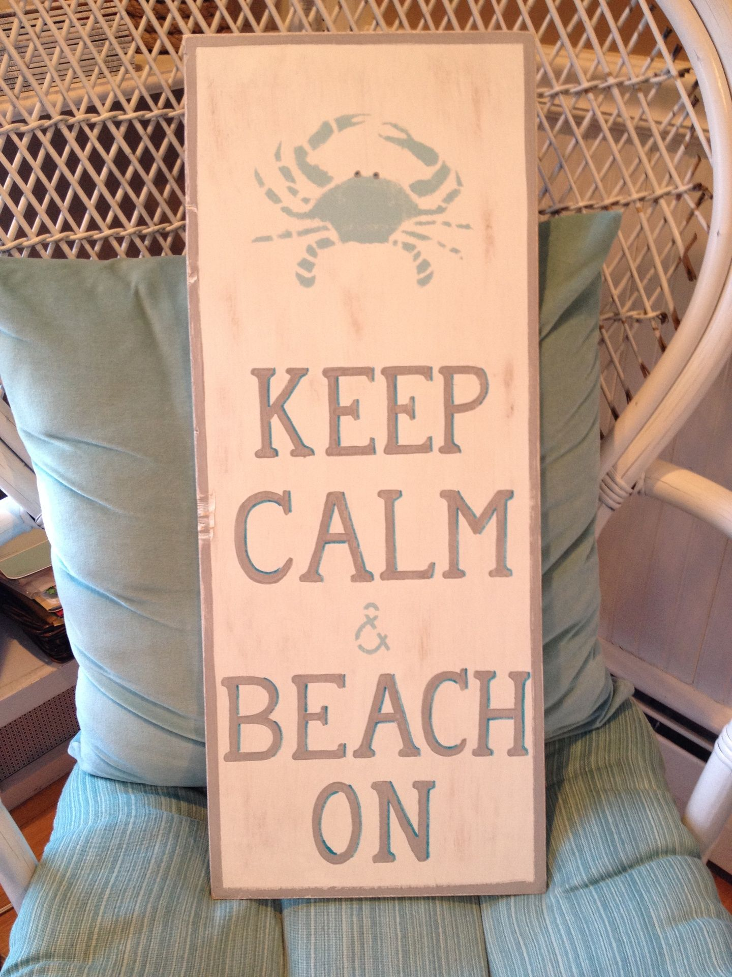 blue crab, keep calm, hand painted sign, home decor, chalk paint, whitewash/grey border/ grey text