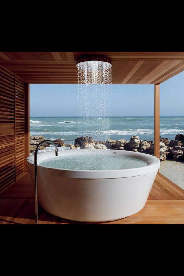 Soaker tub for two with a ceiling tub filler! A sophisticated and ...