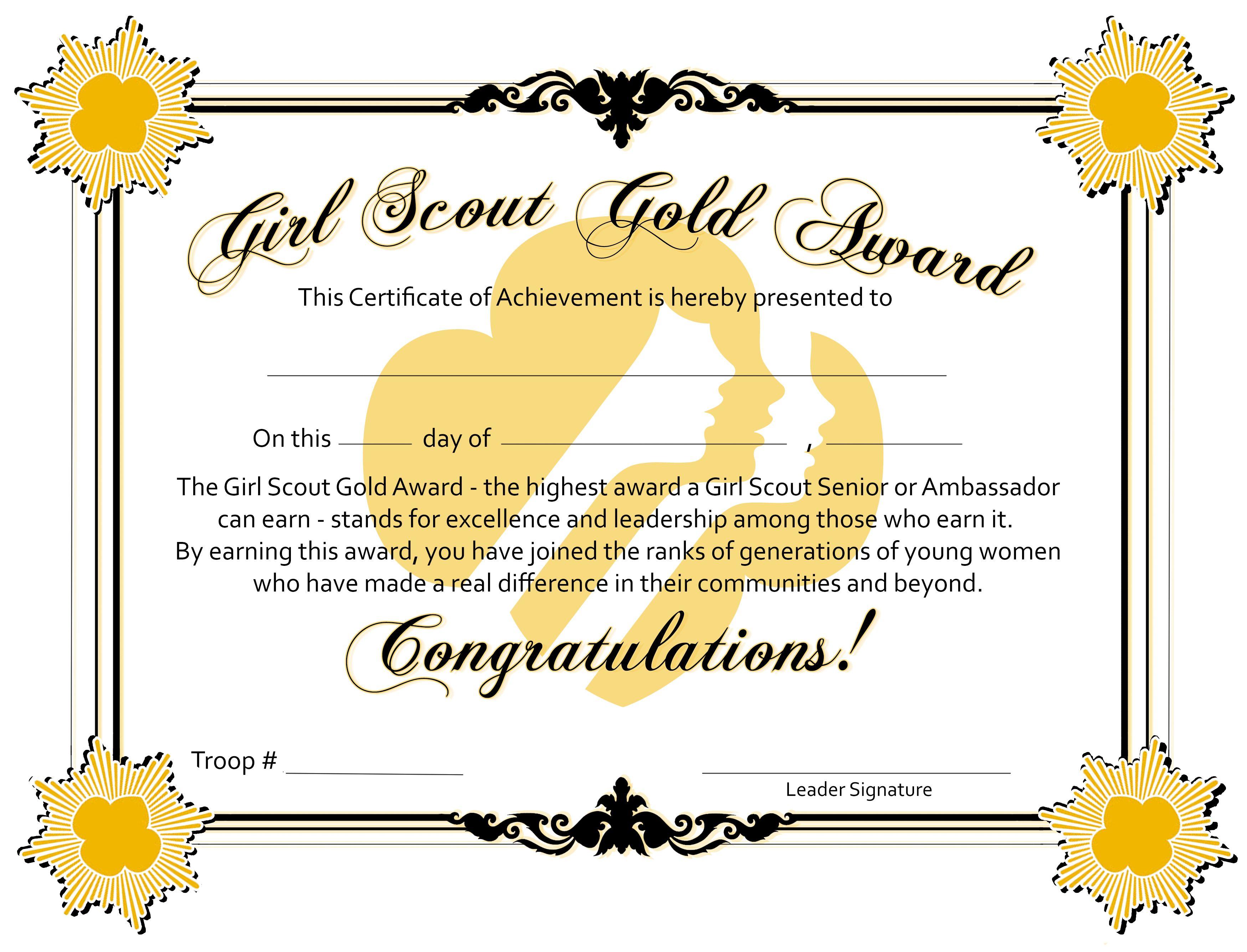 Gold award certificate template gallery certificate design and gold award certificate of achievement girl scout certificates gold award certificate of achievement yadclub gallery yadclub Images