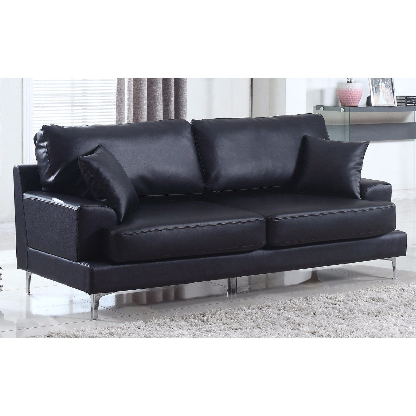 Ultra Modern Plush Bonded Leather Living Room Sofa With