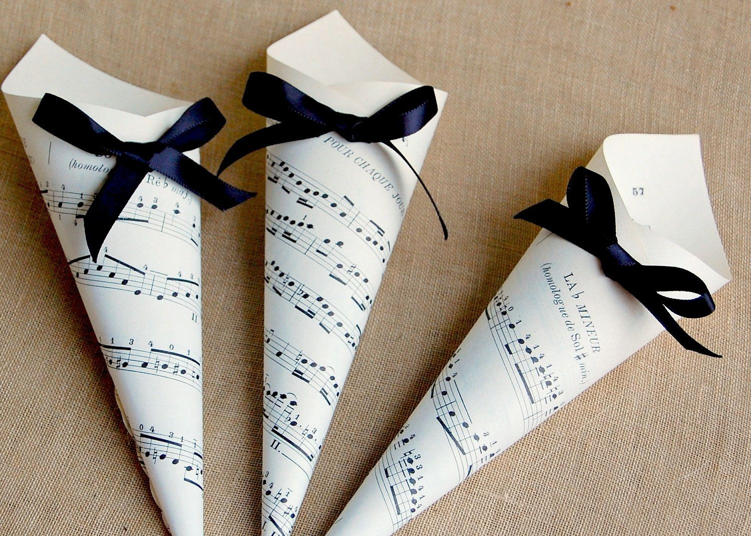 Sheet music wedding cones with ribbon set of choose your color