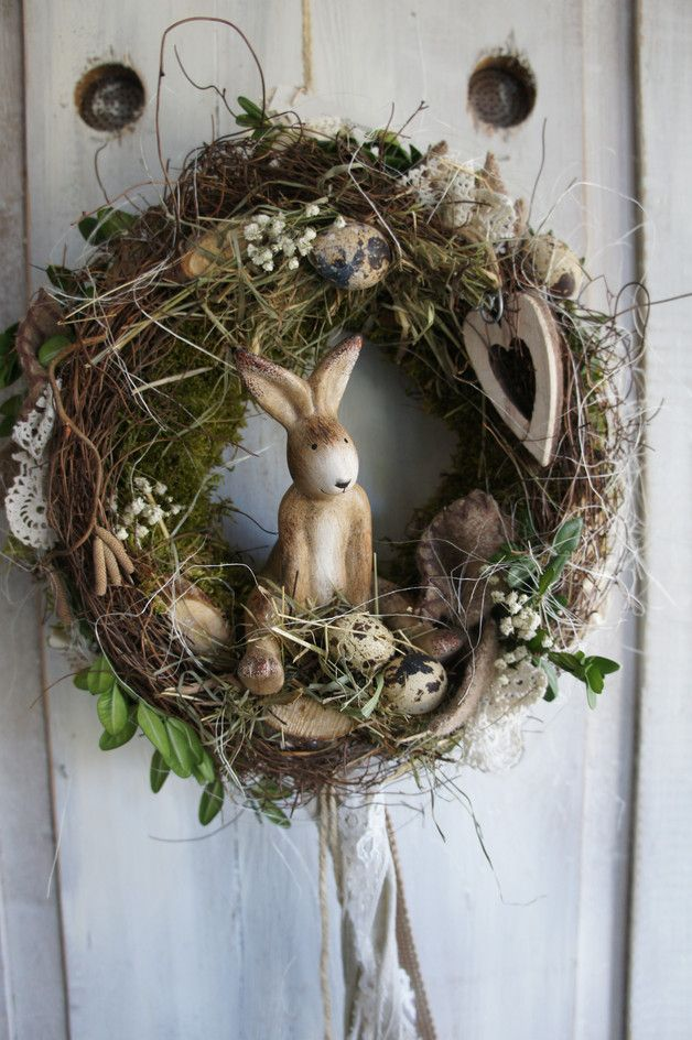 """Photo of Easter decoration – Easter wreath """"Rabbit in spring joy …."""" – a designer piece by …"""
