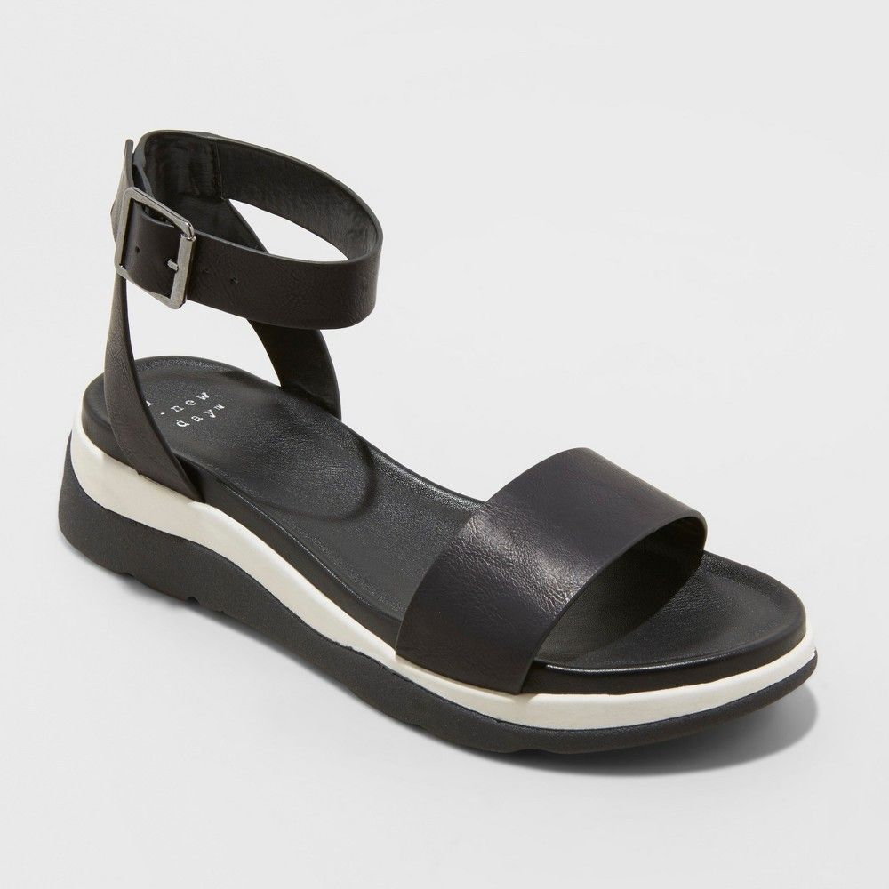 Women's Raven Ankle Strap Sport Sandals A New Day Black