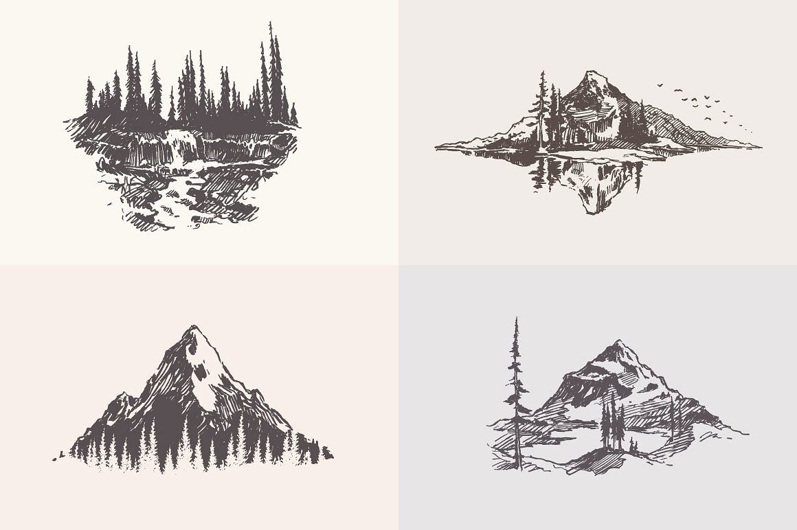 Collection Of Mountain Landscapes Mountain Landscape Pine Tree Tattoo Nature Sketch
