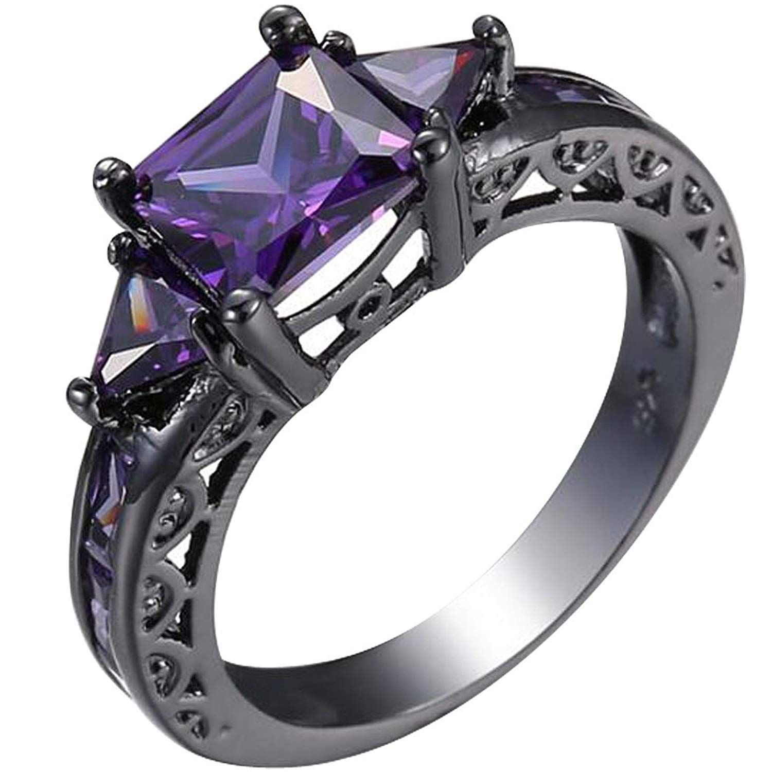 XAHH Women Vintage Black Gold Plated Purple Crystal Square