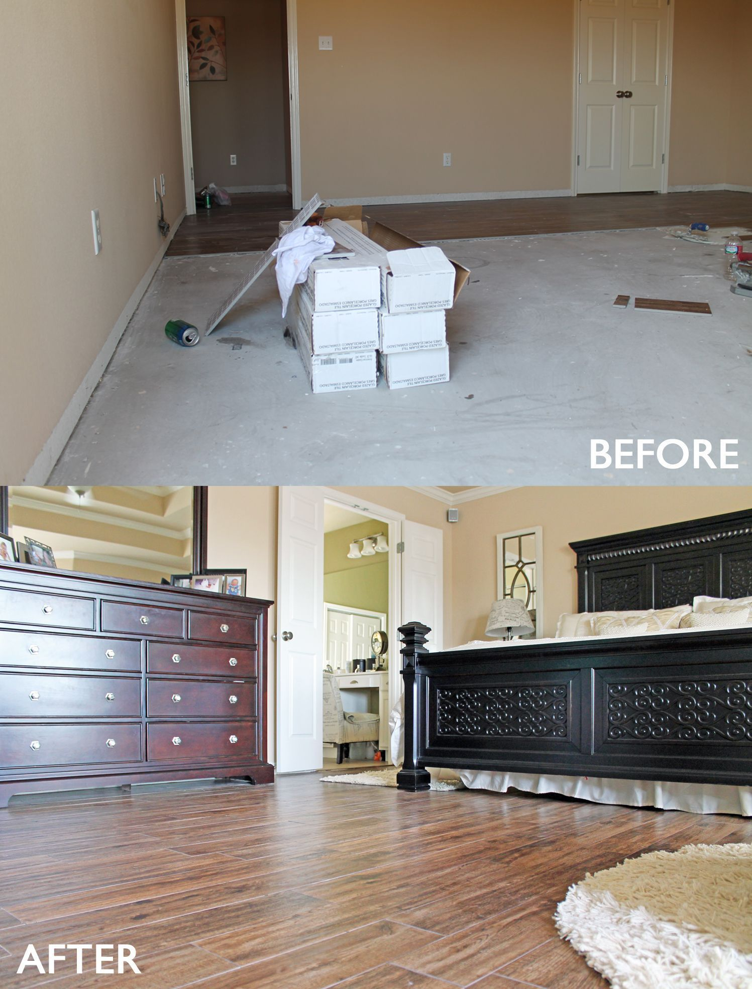 Master #bedroom remodel before and after. Wood look #tile floors ...
