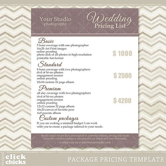 Photography Package Pricing List Template Wedding Packages List