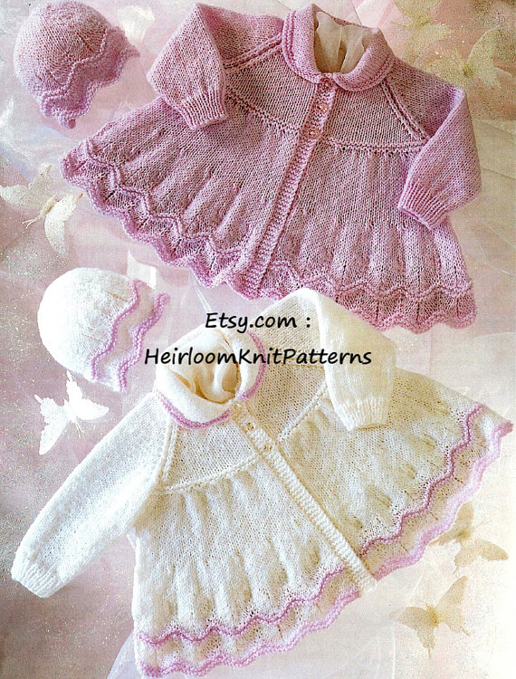 Baby Matinee Coats   Hats Knitting Pattern 12-20   31-51cm DK 8ply Knitted Baby  Coat Hat Set Prematu 85e997bb790