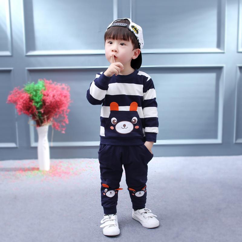 Kinderkleidung Jungen Mädchen Kleidung Set Striped Bear Tops + Pants Kleidung Anzüge | Der Express-Einkaufswagen