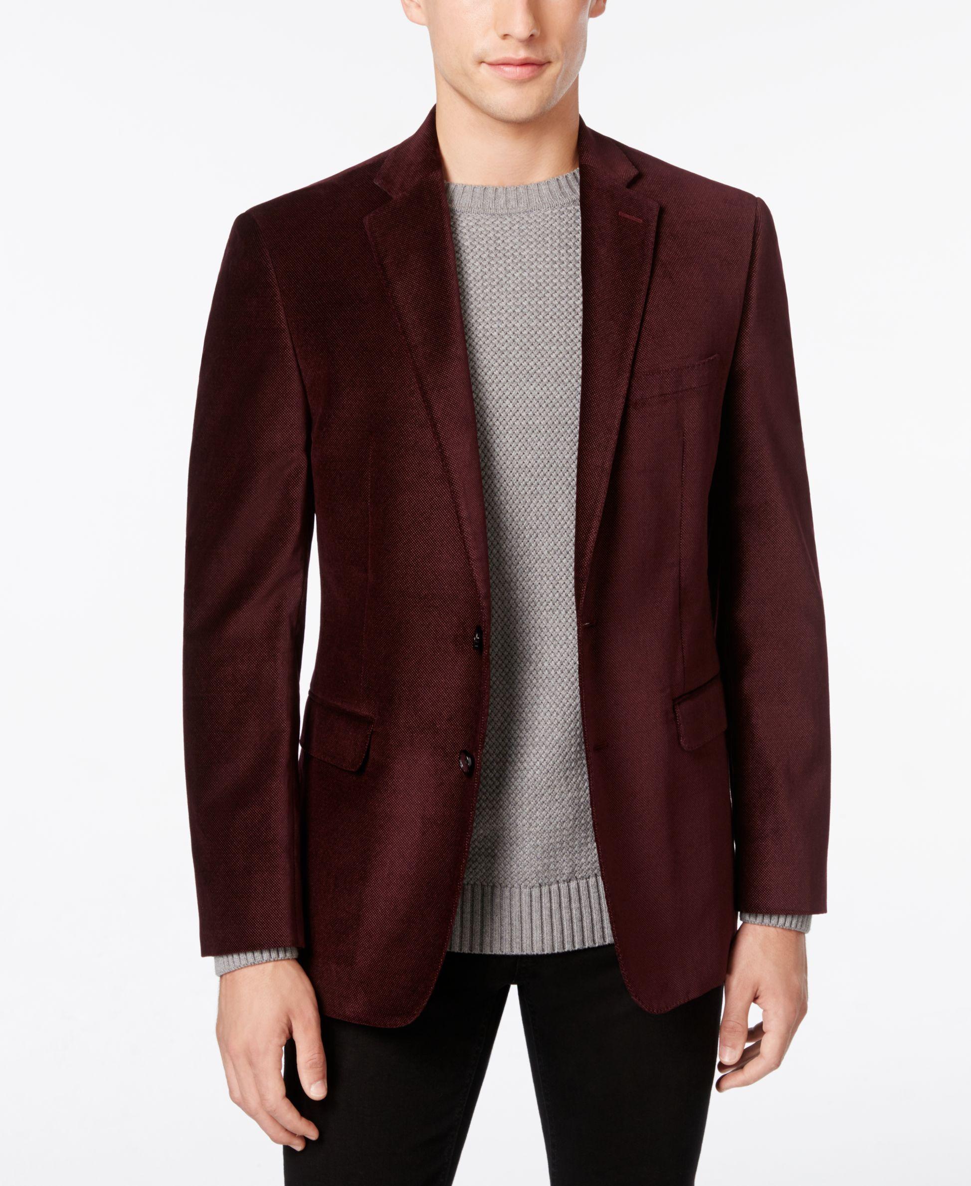 0fbf7c49f1f Calvin Klein Men s Burgundy Velvet Slim-Fit Dinner Jacket