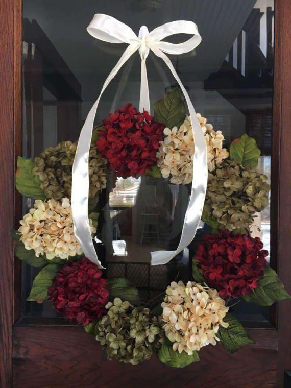 Hydrangea Wreath Front Door Wreath Front by RachelsRefurbiture ...
