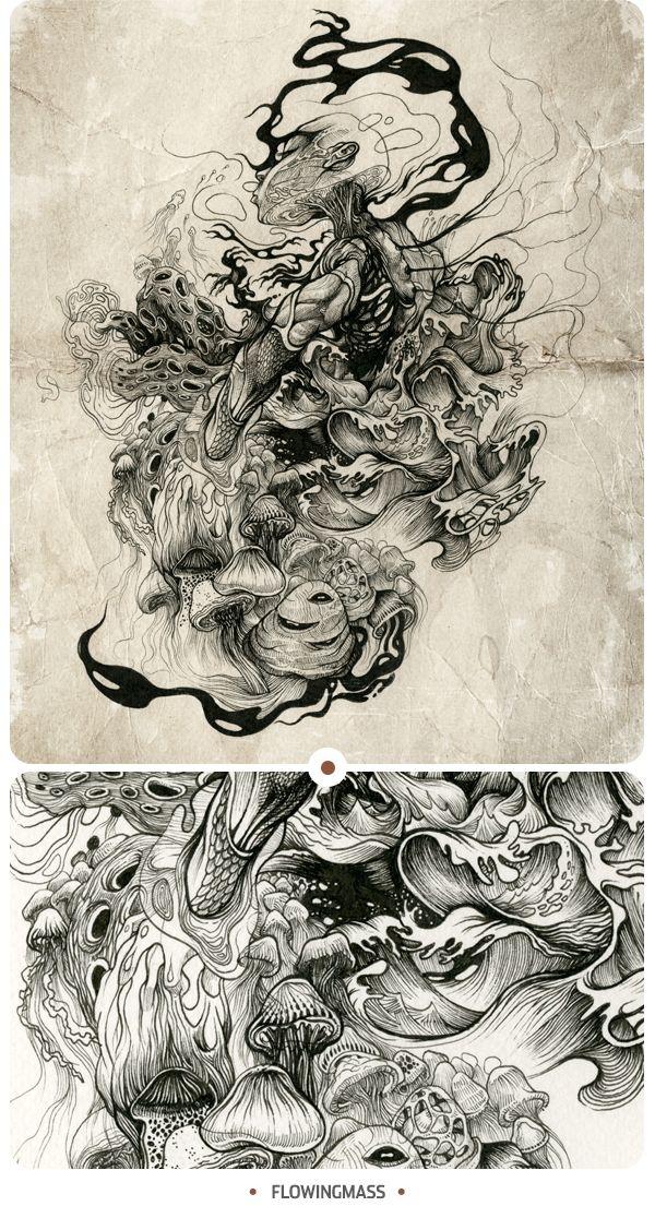 INKSTINCTIVE II by DZO Olivier, via Behance. Beautiful detail and excellent movement.