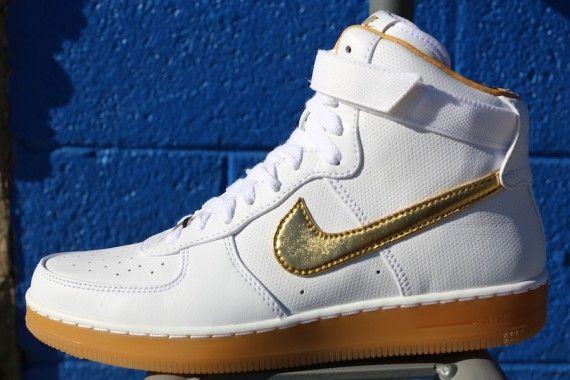 2e9ff7ec9a Nike Air Force 1 Downtown High Premium - White - Metallic Gold ...