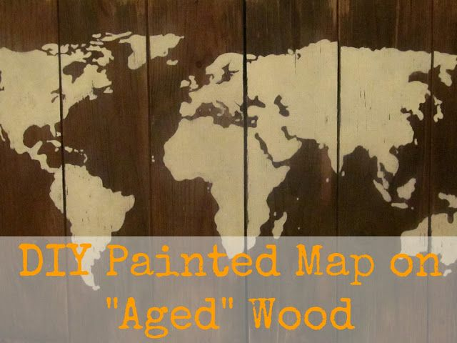 DIY Painted Map on Antiqued Wood