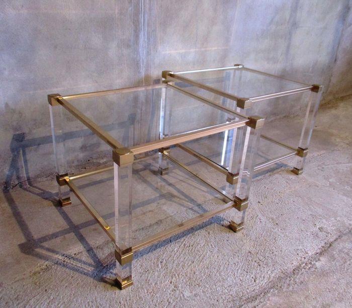 Salontafel Glas Met Messing.Online Veilinghuis Catawiki Pierre Vandel 2 Salontafels