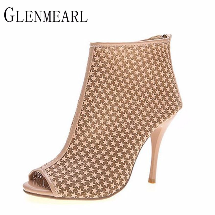 2017 Leather High Heel Women s Pumps Shoes Brand Plus Size Spring Rome Peep  Toe Zip Thin a9f377c1d5cb