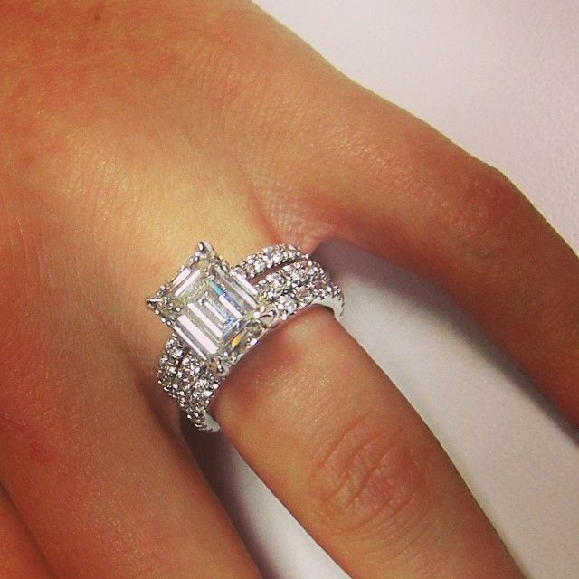 2 50ct Emerald Cut Diamond Engagement Ring With 5mm Eternity Setting Matching Wedding Bands