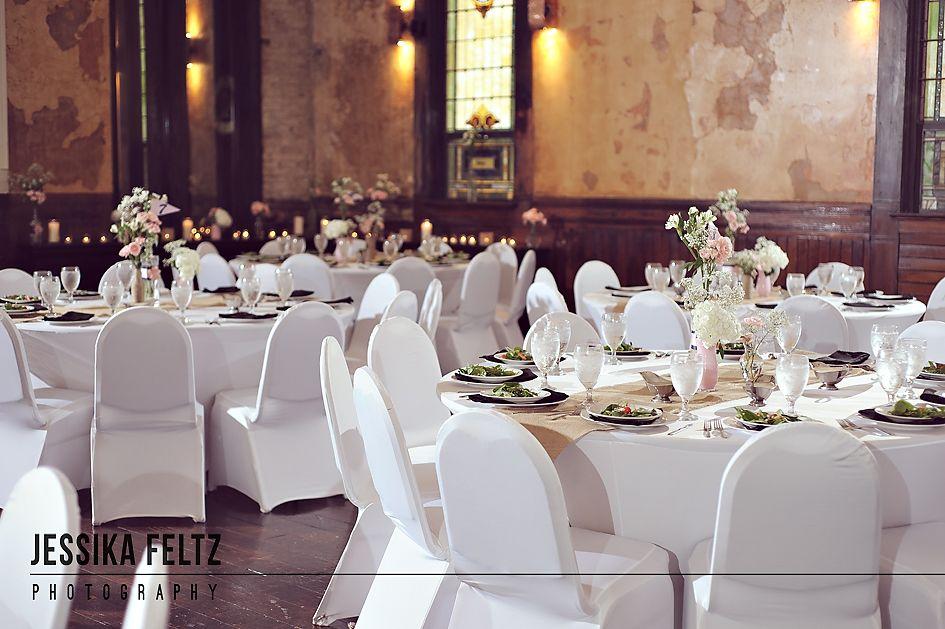 Sanctuary on Penn Wedding, rustic chic wedding, rustic centerpieces, pink and navy wedding, burlap